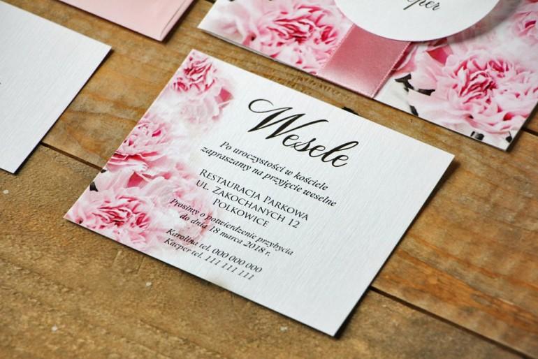 Bilecik do zaproszenia 120 x 98 mm prezenty ślubne wesele - Akwarele nr 21 - Pudrowe goździki