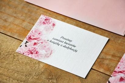 Bilecik do zaproszenia 105 x 74 mm prezenty ślubne wesele - Akwarele nr 21 - Jasnoróżowe goździki
