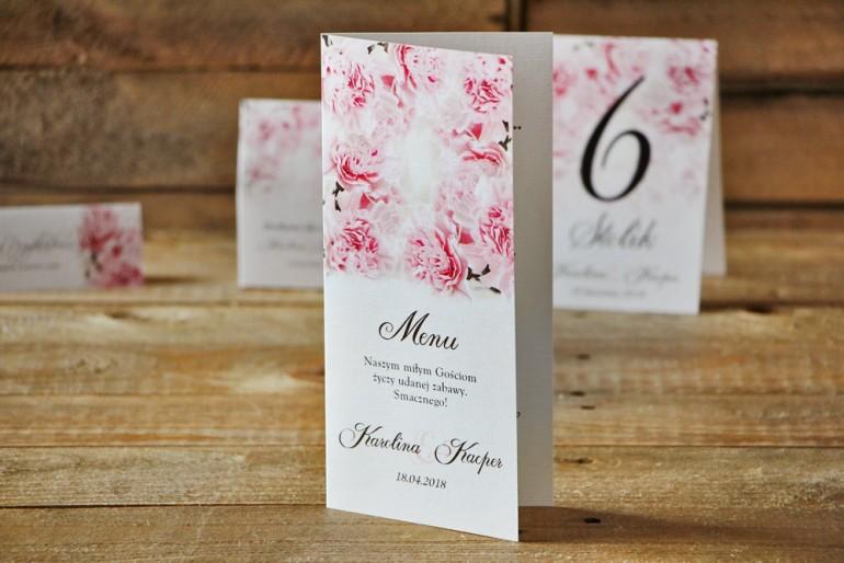Menu weselne, stół weselny - Akwarele nr 21 - Jasnoróżowe goździki
