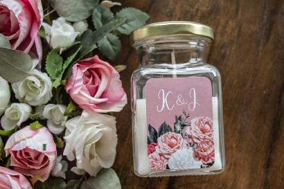 Świeczki - Podziękowania dla gości weselnych, etykieta w kolorze pudrowego różu