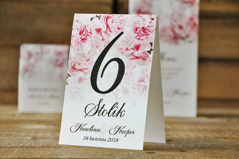 Numery stolików, stół weselny, ślub - Akwarele nr 21 - Jasnoróżowe goździki