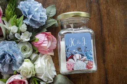 """Świeczki - Podziękowania dla gości weselnych, etykieta w kolorze """"dusty blue"""""""