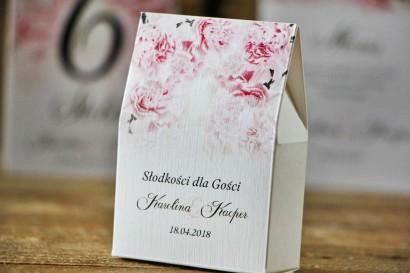 Pudełeczko stojące na cukierki, podziękowania dla Gości weselnych - Akwarele nr 21 - Jasnoróżowe goździki