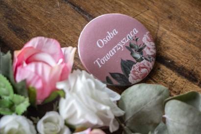 Ślubne Przypinki dla gości weselnych w kolorze pudrowego różu