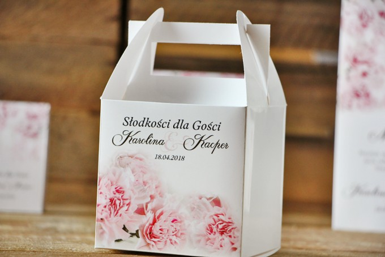 Pudełko na ciasto kwadratowe, tort weselny - Akwarele nr 21 - Pastelowe różowe goździki