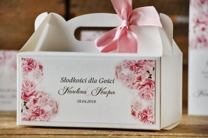 Prostokątne pudełko na ciasto, tort weselny, ślub - Akwarele nr 21 - Jasnoróżowe goździki