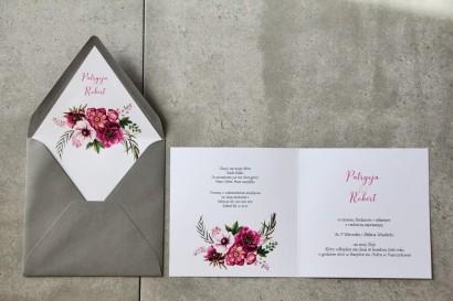Wnętrze zaproszenia - Cykade nr 5 ze złoceniem - Intensywnie fioletowe kwiaty
