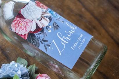 """Ślubne Etykiety samoprzylepne na butelki w kolorze """"dusty blue"""""""