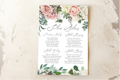 Ślubny Plan stołów z różami i delikatnymi białymi hortensjami oraz z zielonymi gałązkami