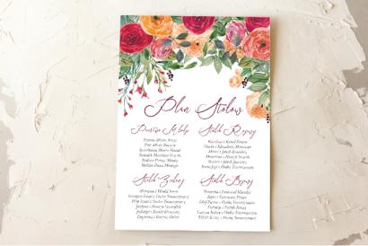 Ślubny Plan stołów z pomarańczowymi i amarantowymi różami