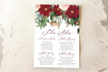 Ślubny Plan stołów z bordowymi daliami i pastelowymi różami, całość w otoczeniu zieleni