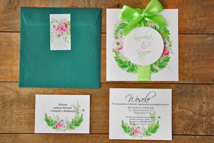 Zaproszenie ślubne z bilecikami - Akwarele nr 22 - Zieleń i różowe jaskry