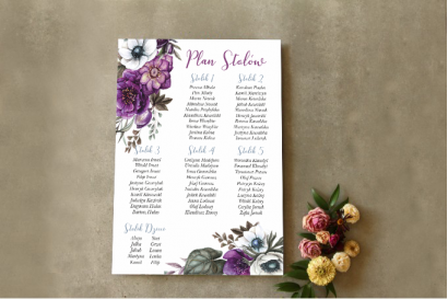 Ślubny Plan stołów z białymi anemonami, ciemiernikiem i cyniami