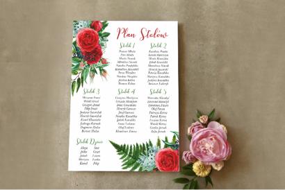 Ślubny Plan stołów z czerwonymi różami i leśną paprocią