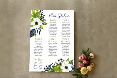 Ślubny Plan stołów z białymi anemonami, granatem i zielenią