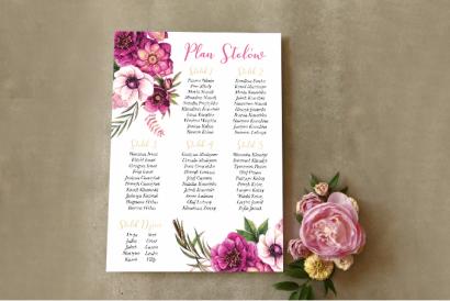 Ślubny Plan stołów - Połączenie białych i fioletowych anemonów, cynii i ciemiernika z akcentami zimnej zieleni