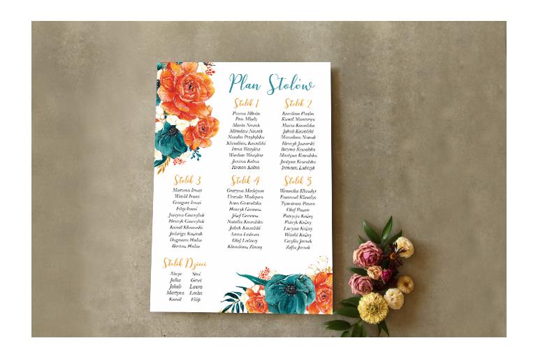 Ślubny Plan stołów - Intensywne połączenie szmaragdowych anemonów z pomarańczowym różami