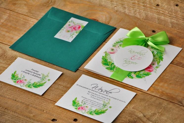 Zaproszenie ślubne z kokardą i kolorową kopertą - Akwarele nr 22 - Różowe jaskry