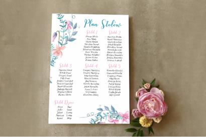 Ślubny Plan stołów - Delikatny pastelowy wianek z dodatkiem drobnych fiołków w odcieniach różu i błękitu