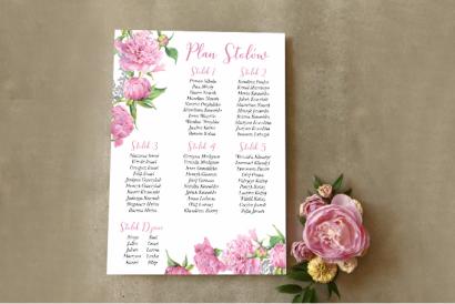 Ślubny Plan stołów z piwonią i paprocią w kolorze jasnego różu