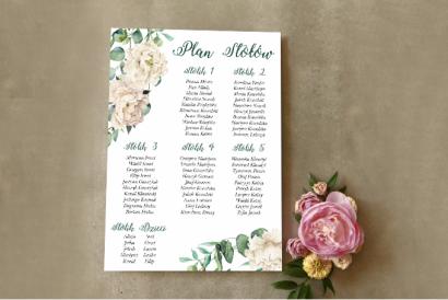 Ślubny Plan stołów - Wianek z kremowymi piwoniami oraz eukaliptusem