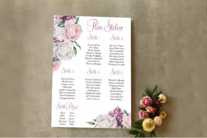 Ślubny Plan stołów - Wianek z białymi i różowymi piwonia oraz kwiatami bzu