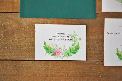 Bilecik do zaproszenia 105 x 74 mm prezenty ślubne wesele - Akwarele nr 22 - Intensywna zieleń i różowe jaskry