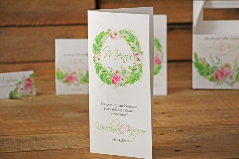 Menu weselne, stół weselny - Akwarele nr 22 - Różowe jaskry z intensywną zielenią