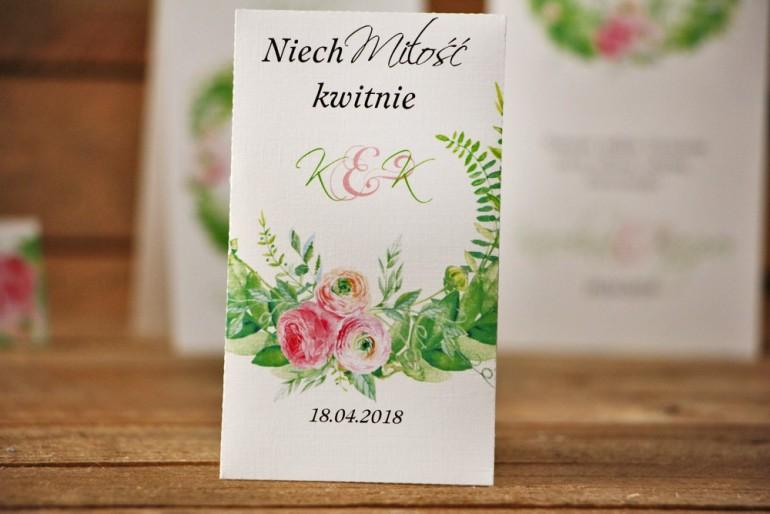 Podziękowania dla Gości weselnych - nasiona Niezapominajki - Akwarele nr 22 - Różowe jaskry z zielenią