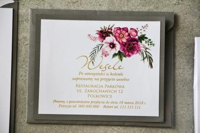 Bilecik dwuwarstwowy prezenty ślubne wesele - Cykade nr 5 ze złoceniem - Fioletowy bukiet kwiatów