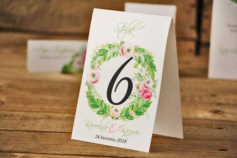 Numery stolików, stół weselny, ślub - Akwarele nr 22 - Różowe jaskry z zielenią
