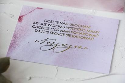 Złocony Bilecik do zaproszeń ślubnych w odcieniu pastelowego różu