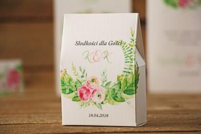 Pudełeczko stojące na cukierki, podziękowania dla Gości weselnych - Akwarele nr 22 - Różowe jaskry z zielenią