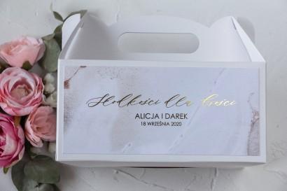 Pudełko na Ciasto weselne (prostokątne) ze złoceniem w szampańskim kolorze
