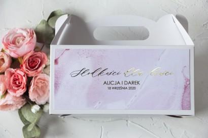 Pudełko na Ciasto weselne (prostokątne) ze złoceniem w odcieniu pastelowego różu