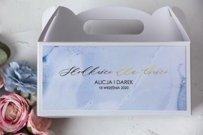 Pudełko na Ciasto weselne (prostokątne) ze złoceniem w pastelowym, niebieskim kolorze