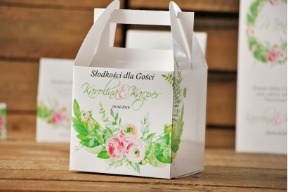 Pudełko na ciasto kwadratowe, tort weselny - Akwarele nr 22 - Zieleń z różowymi jaskrami