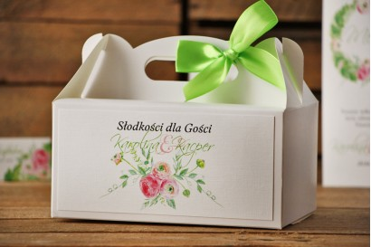 Prostokątne pudełko na ciasto, tort weselny, ślub - Akwarele nr 22 - Różowe jaskry