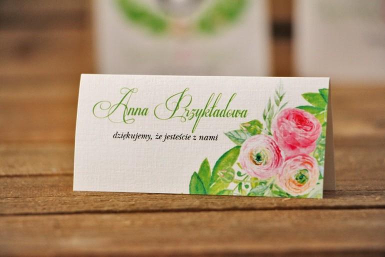 Winietki na stół weselny, ślub - Akwarele nr 22 - Różowe jaskry z zielenią