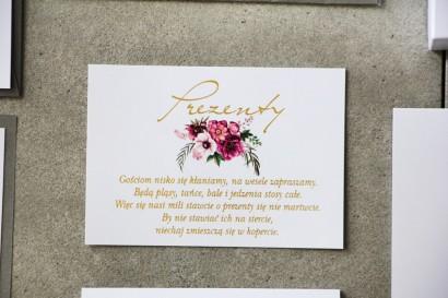 Bilecik prezenty ślubne wesele - Cykade nr 5 ze złoceniem - Intensywnie fioletowy bukiet