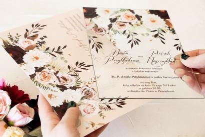 Jesienne zaproszenia ślubne na szkle z nadrukiem dalii i różowych, pastelowych róż