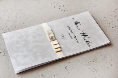 Menu weselne, stół weselny - Amaretto nr 1 - Papier perłowy z kokardką ecru i cyrkonią
