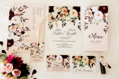 Zestaw próbny zaproszeń ślubnych na szkle z kolekcji Korani nr 2