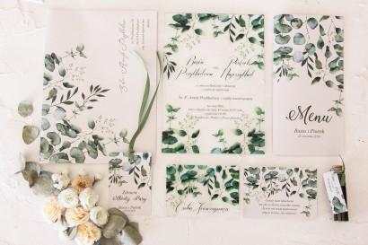 Zestaw próbny zaproszeń ślubnych na szkle z kolekcji Korani nr 3