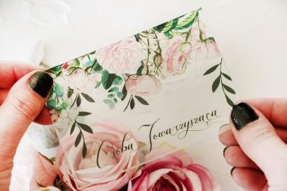 Winietki ślubne na szkle z nadrukiem pastelowych róż i białych hortensji z zielonymi gałązkami