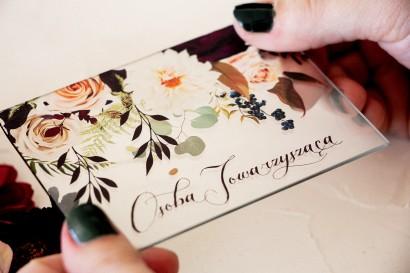 Winietki ślubne na szkle z nadrukiem dalii i różowych, pastelowych róż