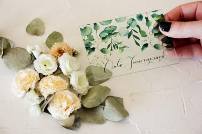 Winietki ślubne na szkle z nadrukiem z nadrukiem liści eukaliptusa