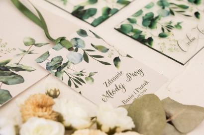 Zawieszki na butelki weselne z nadrukiem liści eukaliptusa