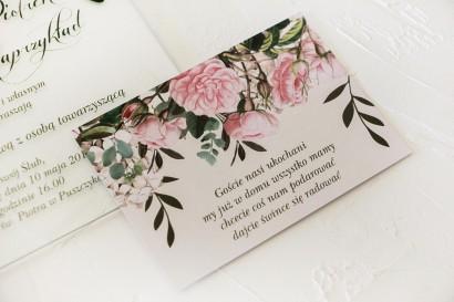 Bilecik do zaproszeń ślubnych z nadrukiem pastelowych róż i białych hortensji z zielonymi gałązkami