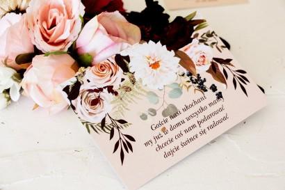 Bilecik do zaproszeń ślubnych z nadrukiem dalii i różowych, pastelowych róż